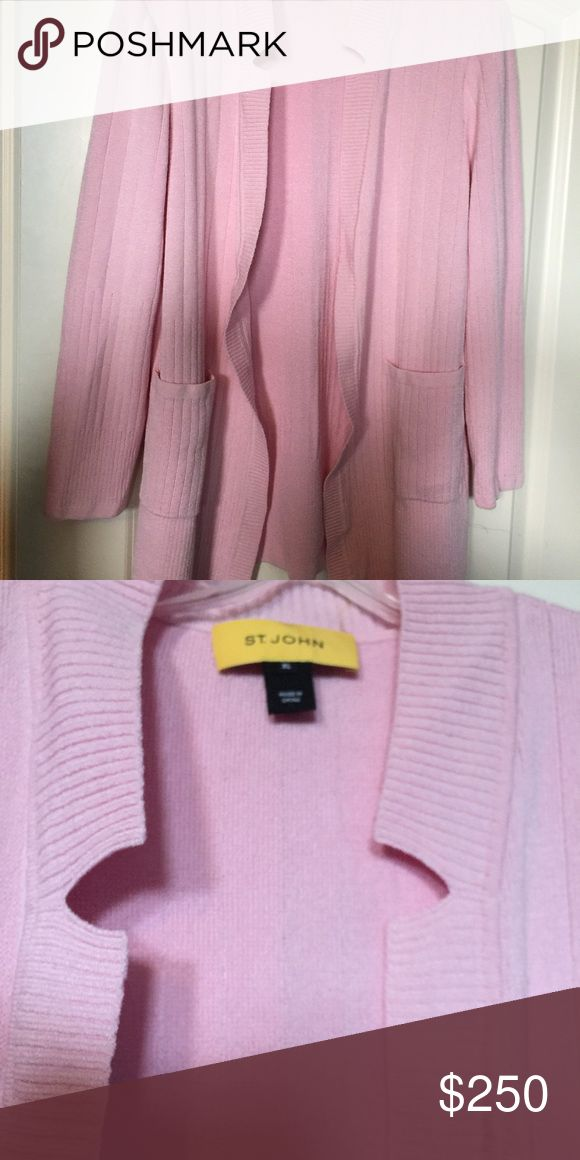 St. John's cardigan sweater Gorgeous, light pink, cardigan w/ lovely geometric detail. Like new condition. St. John Sweaters Cardigans