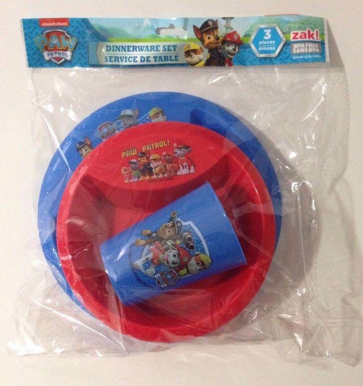 Nickelodeon Paw Patrol Plastic Dinnerware Set 3 Piece Cup Plate Bowl BPA Free  #Zak