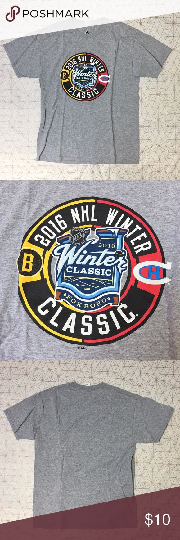 """Men's 2016 Winter Classic Boston vs Canadians tee - Size: L - Material: 90% cotton, 10% polyester  - Condition: excellent - Color: gray, black, red, white, blue, yellow - Pockets: no - Lined: no - Closure: no - Extra notes: Boston Bruins versus Montreal Canadians 2016 Winter Classic  *Measurements:  Chest: 20.5"""" flat Waist: 19.75"""" flat Length: 29"""" Sleeve: 18"""" NHL Shirts Tees - Short Sleeve"""