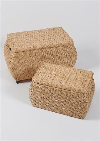 Set of 2 Natural Rush Storage Trunks (Large 70 x 44 x 40cm)