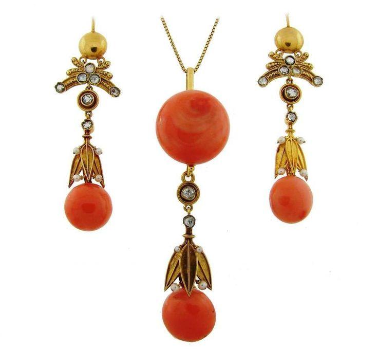 Victorian Coral Diamond Pearl Gold Pendant Necklace Earrings Set 1 #PearlGoldJewellery #GoldJewellerySet