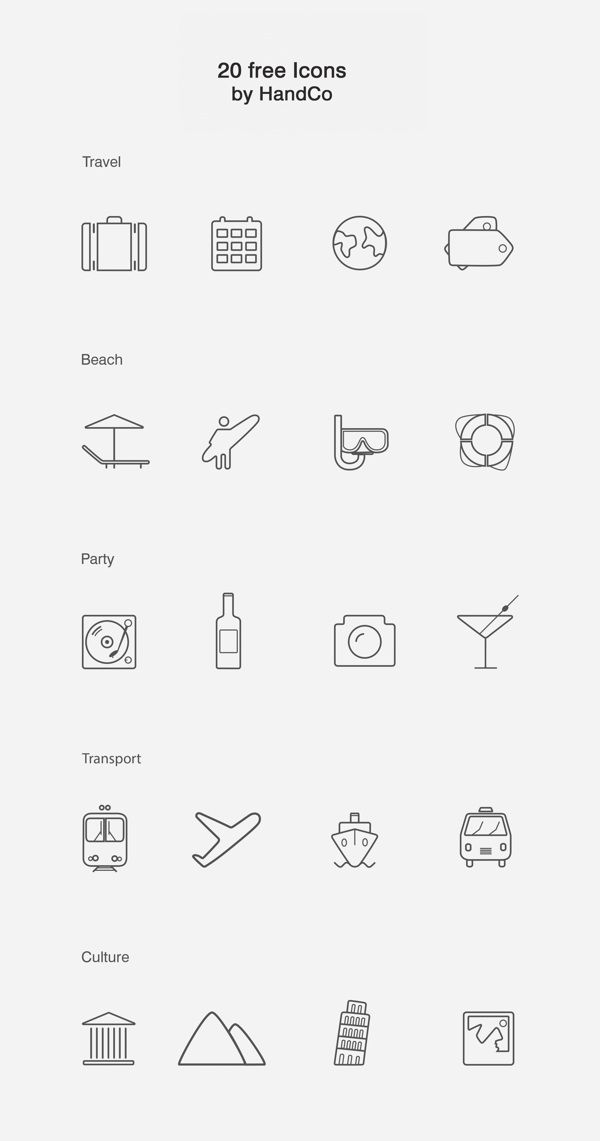 Free Vector Icons by Handco , via Behance