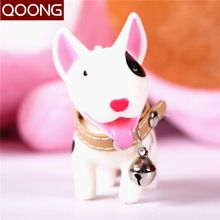QOONG High-quality Lovely Dog Key Chain Lovers' Keyring Couple Key Ring Key Holder Women Girls Cute Car Keychain With A Bell(China (Mainland))