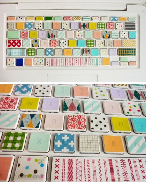 This would make so happy!Crafty Stuff, Crafts Ideas, Happy Keyboard, Crafty Things, Happy People, Masks Tape, Tape Keyboard, Washi Tape, Keyboard Stickers
