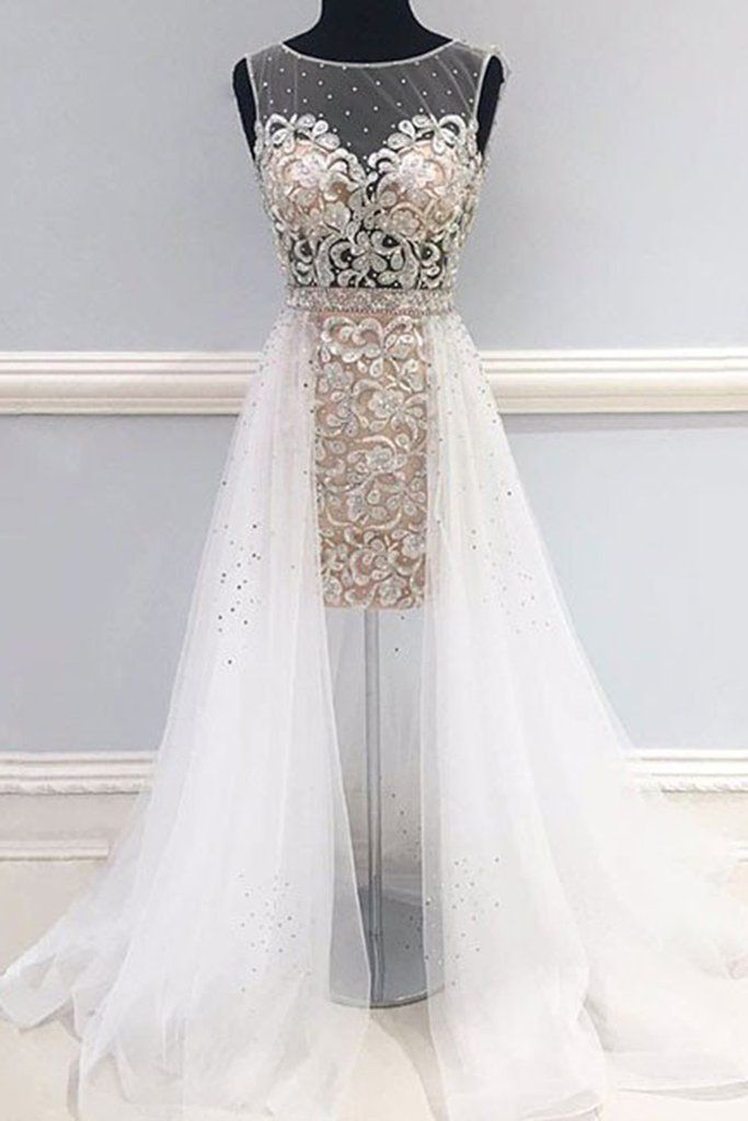 Unique prom dress, ball gown, beautiful white tulle + lace applqiues long evening dress for prom 2017
