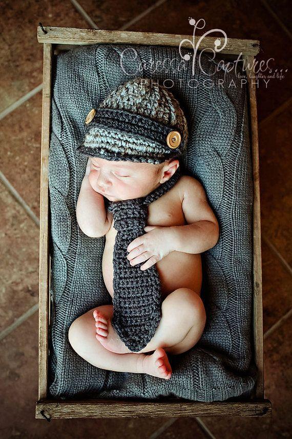 Baby boy hat, newborn hat, baby boy newsboy hat, crochet necktie, photo prop, grey gray newsboy cap, brim hat, baby hat, infant boy hat on Etsy, $40.00 I wish I could just make this!