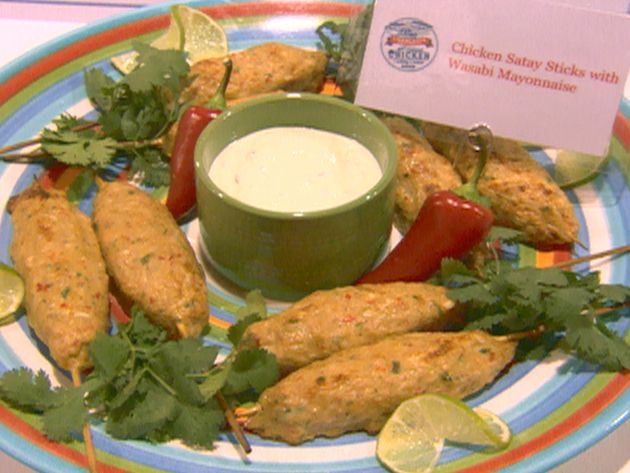 Chicken Satay Sticks with Wasabi Mayonnaise recipe from Food Network Challenge via Food Network