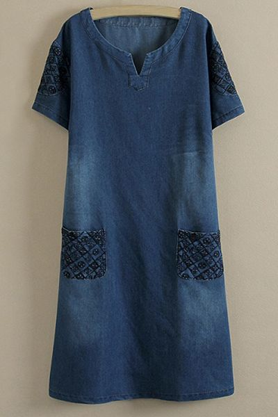 Casual Style Round Neck Short Sleeve Embroidered Denim Plus Size Dress For Women