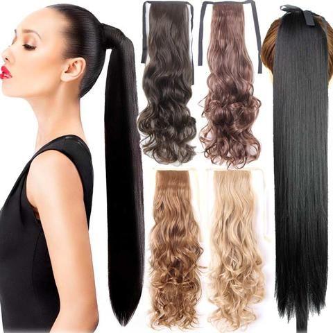 """Fake Hair Ponytail Long Straight Hair Pieces Synthetic Hair 105g 22"""" H – nantahalas"""