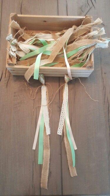 Autolintjes voor bruiloft met mint en perzik
