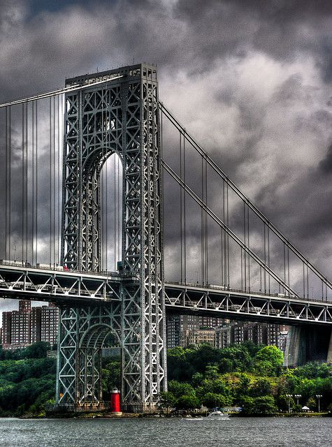 """Famous little historic lighthouse beneath the George Washington Bridge. This is the Manhattan (New York City) end of the bridge. """"The Little Red Lighthouse and the Great Gray Bridge""""...a story I read over and over to my son when he was little..."""
