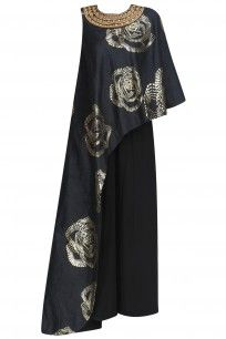 Black and Gold Foil Print One Shoulder Tunic and Pants Set #urvashijoneja #shopnow #ppus #happyshopping