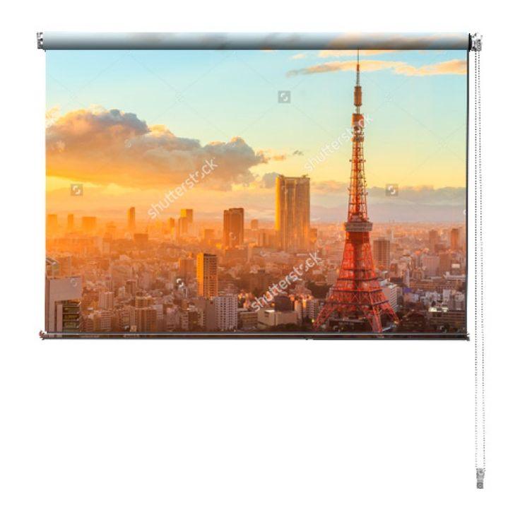 Rolgordijn Tokyo sunrise | De rolgordijnen van YouPri zijn iets heel bijzonders! Maak keuze uit een verduisterend of een lichtdoorlatend rolgordijn. Inclusief ophangmechanisme voor wand of plafond! #rolgordijn #gordijn #lichtdoorlatend #verduisterend #goedkoop #voordelig #polyester #tokio #tokyo #japan #tokyotower #stad #wereldstad #azie #verreoosten #oosters #oranje #zonsopgang #japans