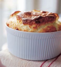 Barefoot Contessa - Recipes - Blue Cheese Souffle [looked good on top but wasn't done thru - needs 35 mins, one less egg yoke]