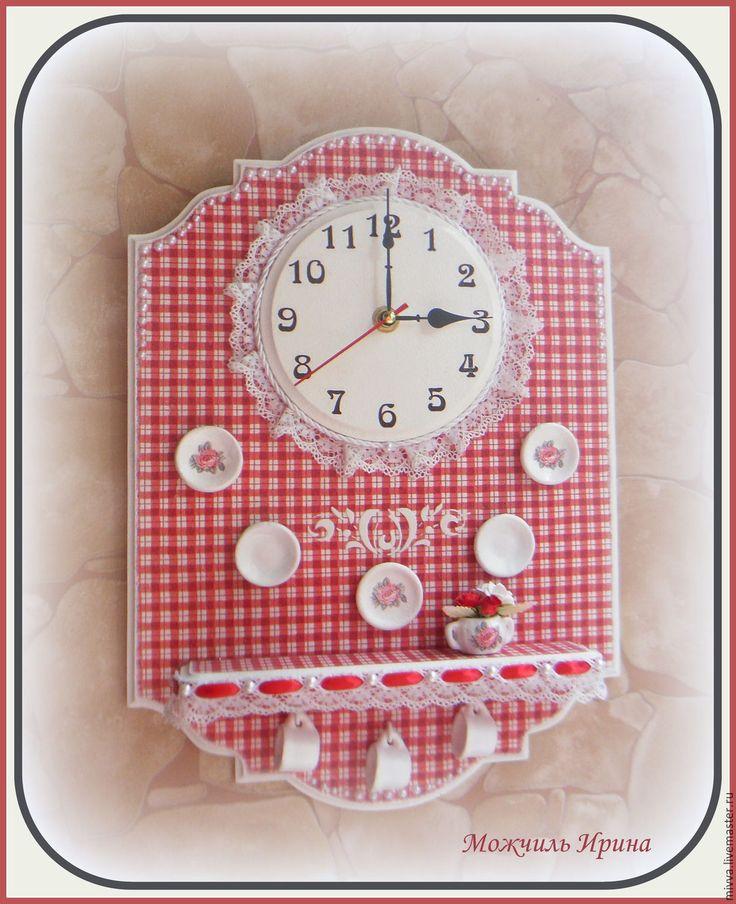 """Купить Часы настенные с полочкой """"Кантри Шик"""" - ярко-красный, часы настенные"""