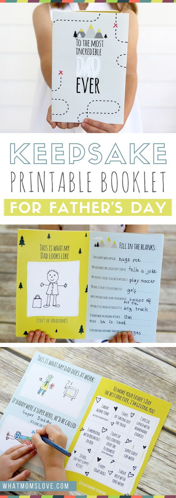 Free Printable Fathers Day Card | All About Dad or Grandpa Book for kids to make...