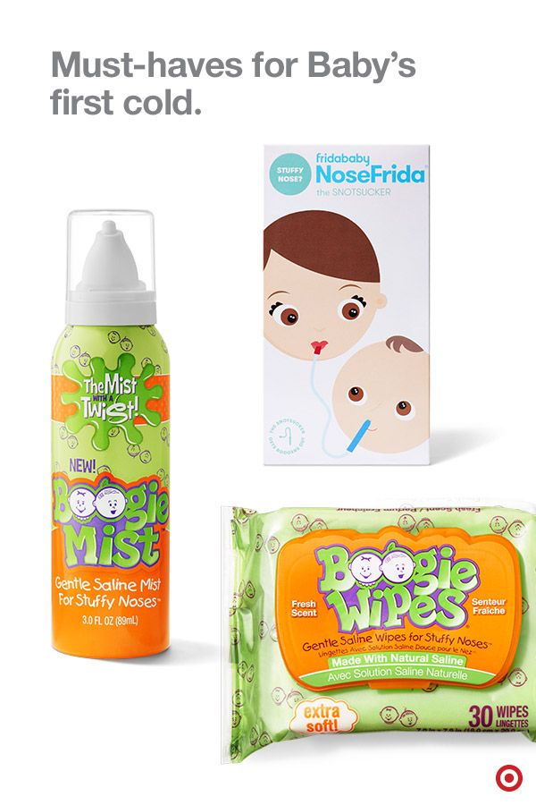 Make sure you have must-have items to tackle Baby's first cold. Boogie Wipes and Mist help break down and ease congestion in little noses gently. And the NoseFrida snotsucker, as yucky as it may seem, is a completely safe (for both parents and baby) and effective way to clear the nasal passage in one swift suck. Can you say, bye-bye nasal aspirator?!
