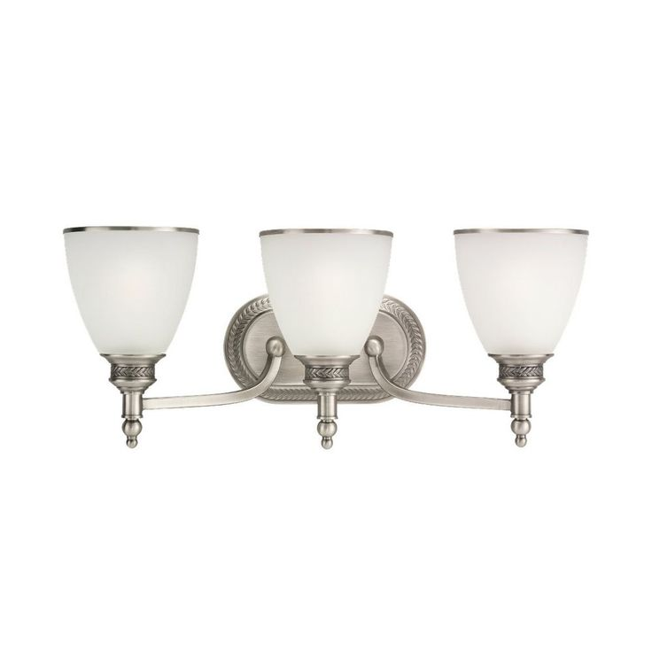 Sea Gull Lighting Bathroom Light with White Glass in Antique Brushed Nickel Finish 44351-965