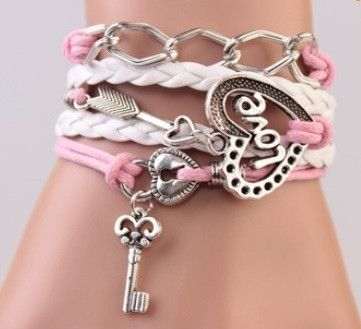 Women's Love Heart Key Bracelet