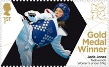 Taekwondo under 57Kg Olympic gold medallist Jade Jones of Team GB on Royal Mail's 25th commemorative gold medal stamp