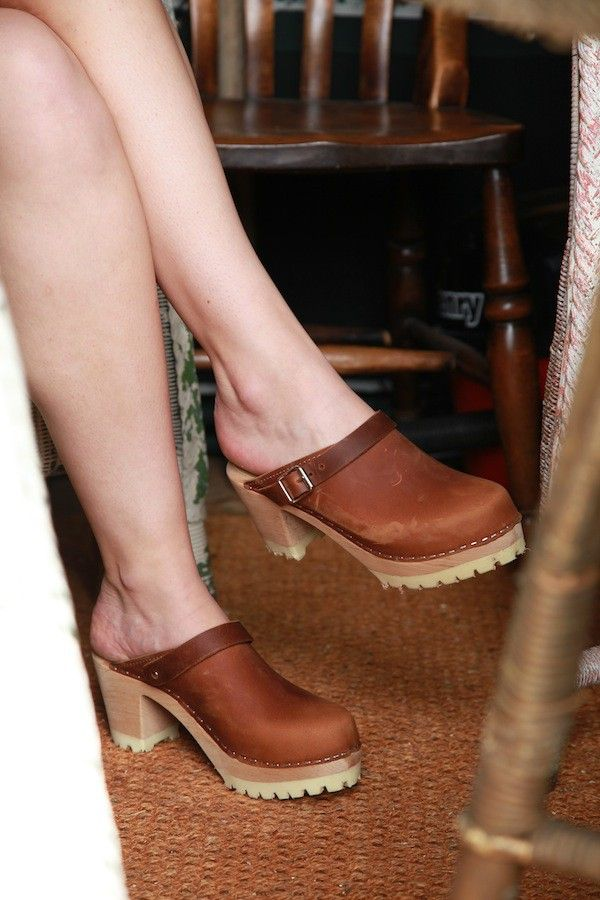 Lotta From Stockholm High Heel Classic Clog in Brown Oiled Nubuck with Tractor Sole and Moveable Strap. Retro style.