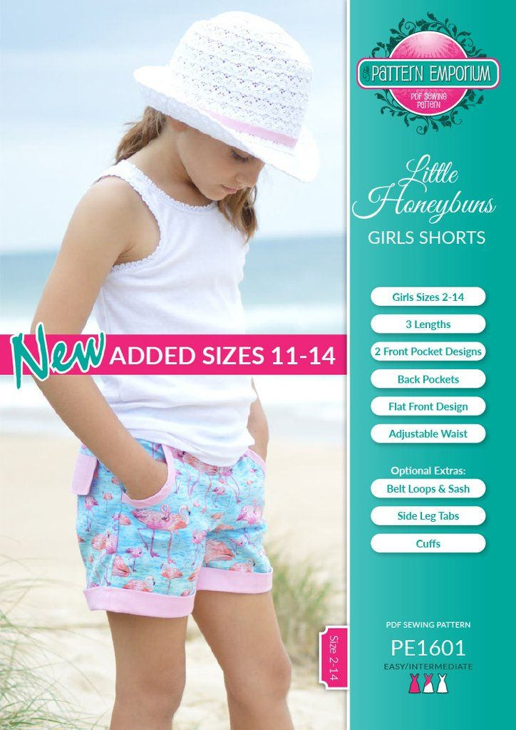New tween sizes have been added to the Honeybuns Girls Shorts sewing pattern. Now covers girls sizes 21-14.