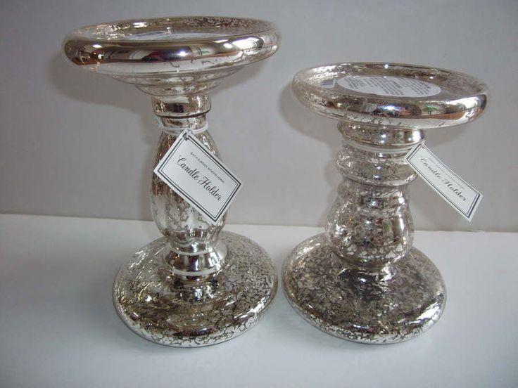 Bath Amp Body Works Mercury Glass Pedestal 3 Wick Candle