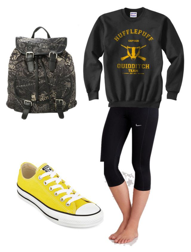 Harry Potter Hufflepuff by tadevicha on Polyvore featuring polyvore, fashion, style, NIKE and Converse
