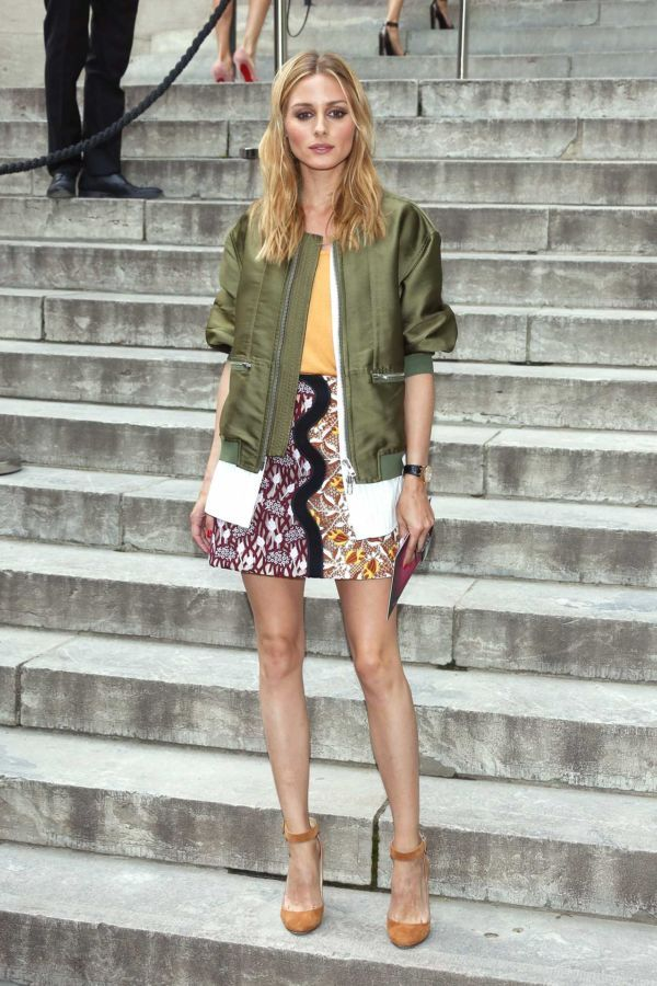 For The Casual Girl - Heading into the Giambattista Valli Couture show in a playful printed mini skirt topped with a 3.1 Phillip Lim Green Bomber Jacket.