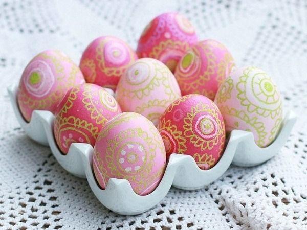 œufs-de-Pâques-dessins-sympas-nuances-roses