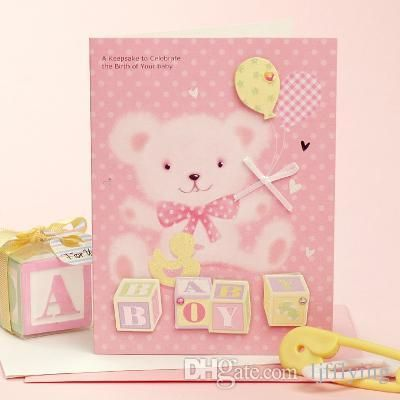 Pink Teddy Bear Baby Girl BABY SHOWER INVITATION Baby Birthday Greeting Card Online with $0.66/Piece on Ljfflying's Store | DHgate.com