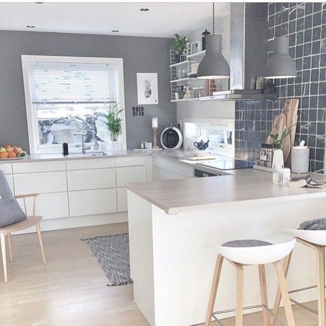 belle cuisine gris blanc bois scandinave http www m
