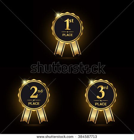 First, second and third place icons. Golden award symbol set. Award golden label. Vector illustration.