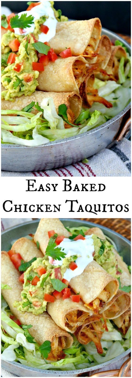 Baked Chicken Taquitos filled with seasoned shredded chicken and cheese! Add your favorite toppings and enjoy at your next fiesta! #Taquitos #Chicken #Baked