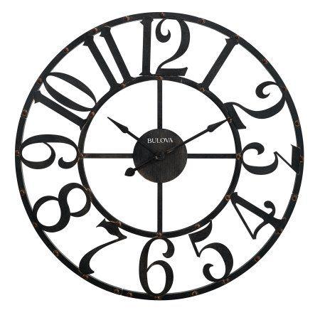 Bulova Gabriel Wall Clock, 45 inch Diameter, Rustic Brown, Black