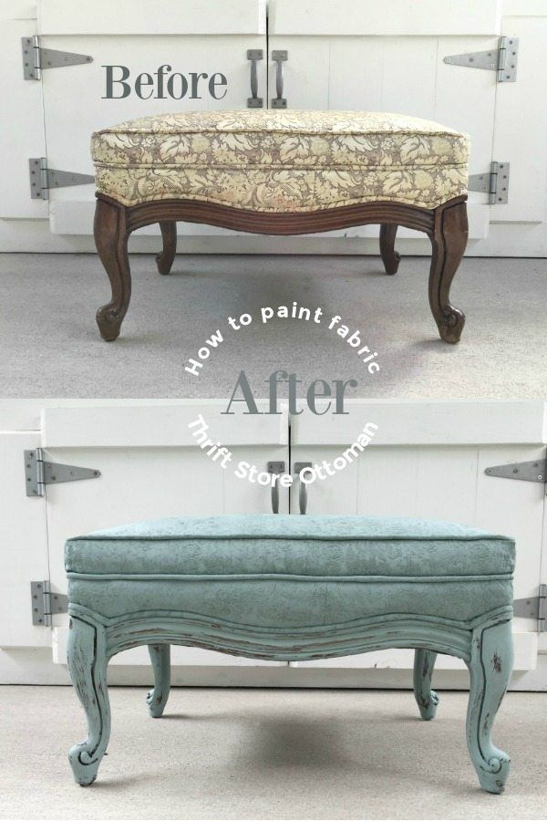 How to paint a fabric ottoman with chalk paint and fabric medium for a soft finish. You will love the way that the fabric feels!