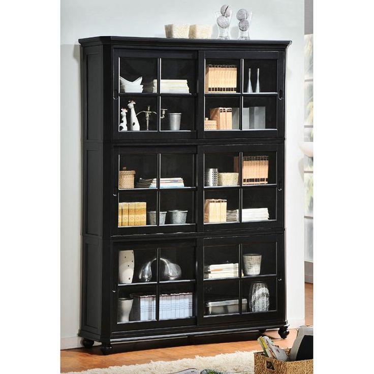Black Bookshelves IDI Design - Glass door bookshelves
