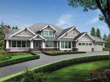 Modern Rambler With Upstairs Bonus Room (HWBDO55814) | Craftsman House Plan  From BuilderHousePlans.