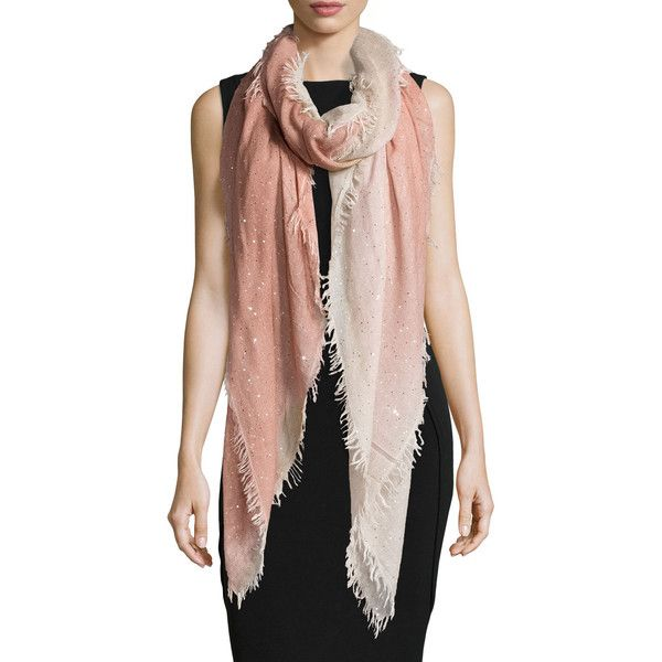 Perfect for Sinchi™ - Be Chic!  Faliero Sarti Monique Ombre Metallic Square Scarf ($810) ❤ liked on Polyvore featuring accessories, scarves, rose ombre, square scarves, metallic shawl, metallic scarves, ombre scarves and faliero sarti scarves