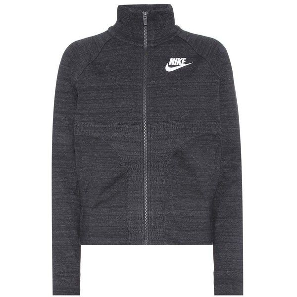 Nike Knitted Cotton-Blend Track Jacket (£72) ❤ liked on Polyvore featuring activewear, activewear jackets, grey, nike sportswear, nike, warm up jackets, track top and track jacket