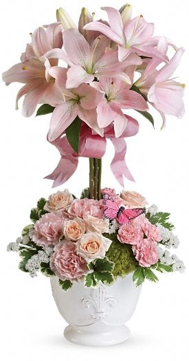 Blushing Lilies Topiary Arragment - At Jacqueline's Flowers & Gifts