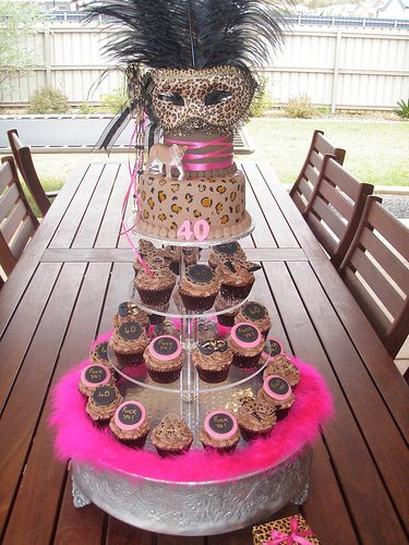 Mossy's Masterpiece - Katie's Cougar/masquerade 40th Birthday cake & cupcakes,Adult cakes & cupcakes ~ Flickr Digital Photography information