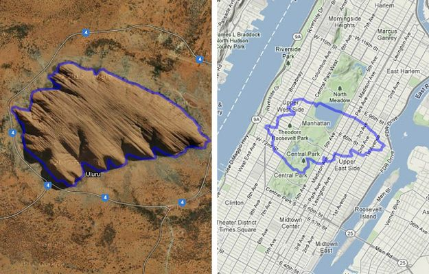 Uluru (Ayers Rock) compared to Central Park, Manhattan. | 17 Maps Of Australia That Will Make Your Mind Boggle