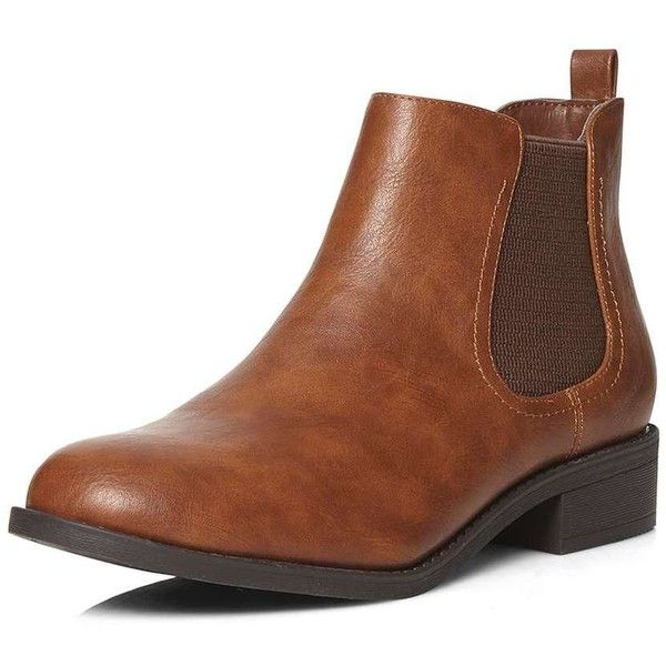 Dorothy Perkins Tan 'May' chelsea boots ($44) ❤ liked on Polyvore featuring shoes, boots, brown, brown boots, flat shoes, flat boots, faux-fur boots and faux leather chelsea boots