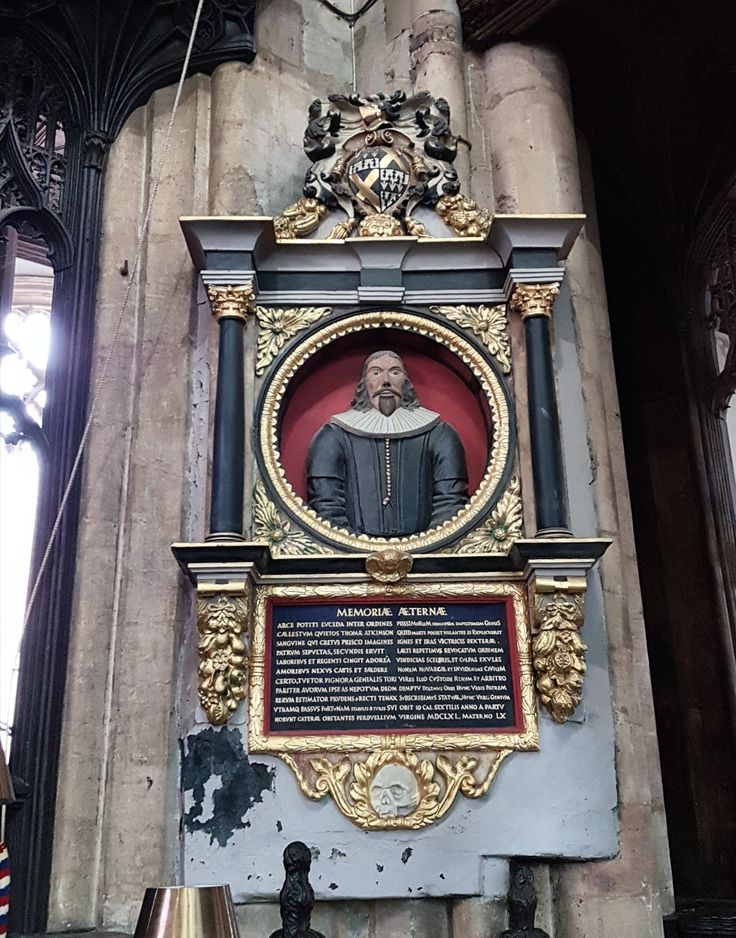 Memorial to Thomas Atkinson. South-west corner of Chancel, Mary Magdalene Church. Atkinson was Mayor in 1641. He died in 1661.