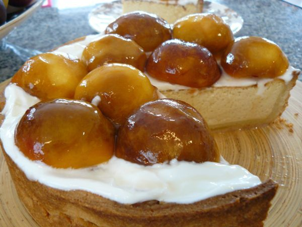 This looks delicious! Baked Honey & Peach Cheesecake from J Friend + Co