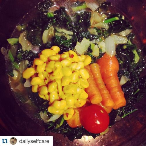 #flashbackfoodiefriday to one of my fav veggie dish creations. Sautéed #shallot #onion #kale with #turmeric #white #beans #tomato #carrot in #miso broth It has just as many #hashtags as #flavor ENJOY #selflove #selfcare #dailyselfcare #2016theyearofyou #2016theyearofdailyselfcare