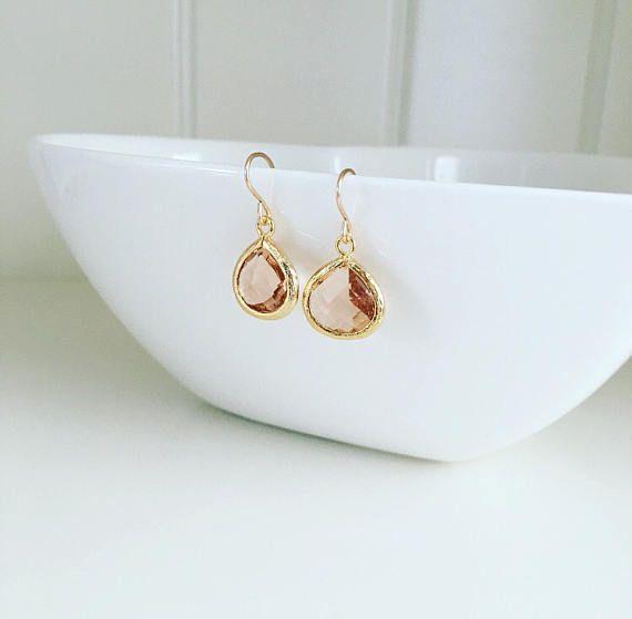 Gold crystal earrings wedding earrings champagne drop