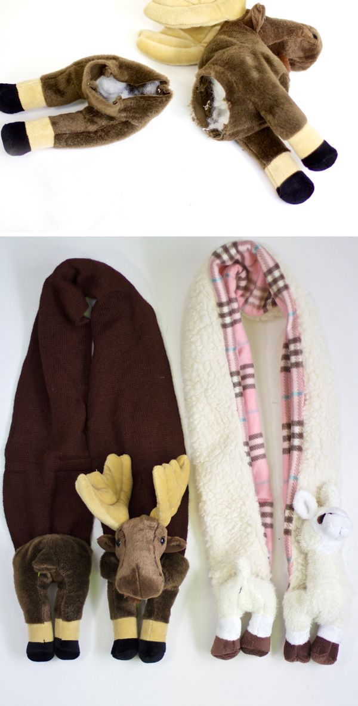 DIY animal scarf made with the kid's stuffed animals. #cute