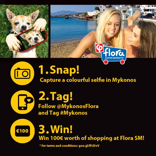 Our Instagram Competition!!! Are you in Mykonos? Lucky you!!! Send us your selfie and you could win 100 EUROS worth of shopping at #FloraSuperMarkets #Mykonos